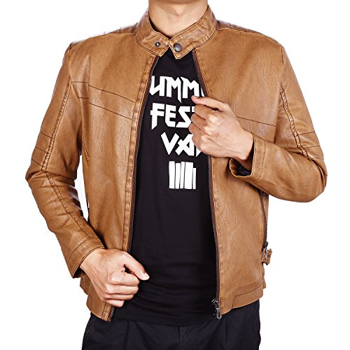 Finrosy Men's Leather Jacket Fuax Leather Motorcycle Jacket Vintage Stand Collar Coat Casual Outwear(Brown,XL)