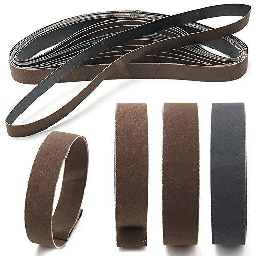 Lot de 15bandes abrasives - 2,5 x 76cm - 6008001000grains - Pour l'affûtage, l'aiguisage, le polissage, le ponçage - 5bandes de chaque grain