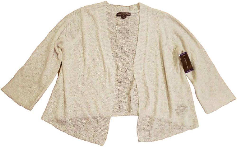 Alexandra + Oak Women's 3/4 Sleeve Open Front Cardigan Sweater in White