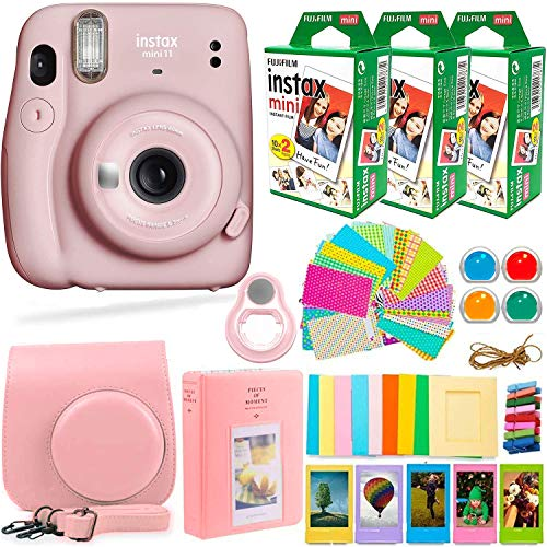 Fujifilm Instax Mini 11 Camera with Fuji Instant Film (60 Sheets) + DEALS NUMBER ONE Accessories Bundle Includes Case, Filters, Album, Lens, and More (Blush Pink)