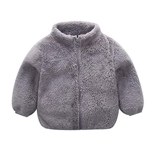 Goldweather Toddler Baby Boy Girl Fleece Warm Jacket Coat Lovely Zipper Up Sweatshirt Tops Outwear Overcoat Infant Fall Winter Clothing (Gray,2-3 Years)