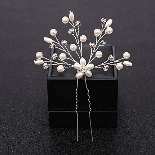 ASDAHSFGMN Accessoires Cheveux de mariée Fleur nacrée Cristal de Mariage épingles à chignons nuptiaux Accessoires Cheveux Headpiece Mariage de Cheveux Bijoux (Metal Color : 10)