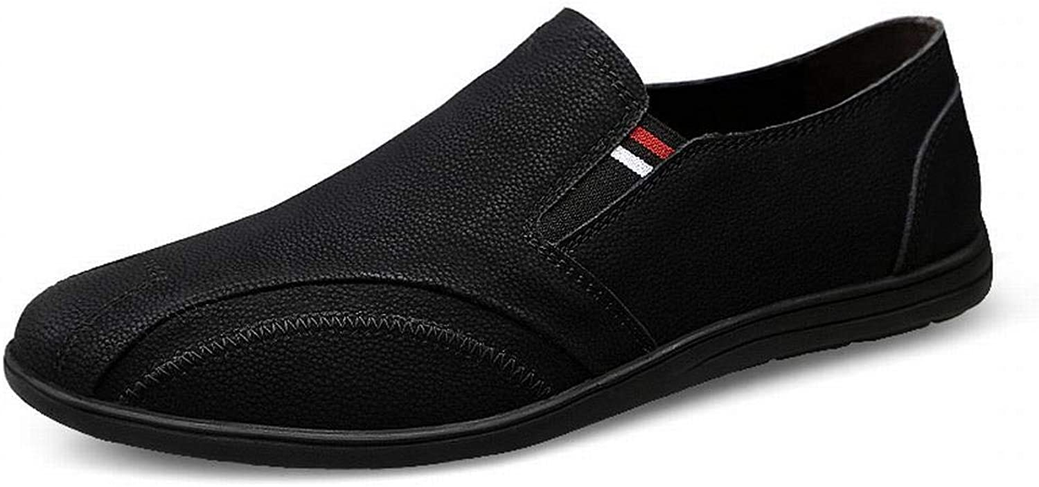 Men's shoes Wild Breathable Casual shoes Leather shoes Leather White shoes (color   Black, Size   43)