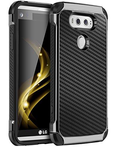 LG V20 Case, BENTOBEN 2 in 1 Cool Slim Hybrid Rugged Hard PC Resilient Strength Durable Laminated with Carbon Fiber Design Chrome Anti-scratch Shockproof Protective Case for LG V20 (2016), BLACK