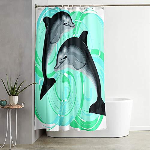 Chickwin Duschvorhang Wasserdicht Antischimmel, Duschvorhänge Polyester Waschbar Bad Vorhang mit 12 Duschvorhangringe - Tier Muster 3D Motiv Badewanne Vorhang (200x200cm,Grauer Delphin)