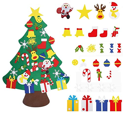 DIY Felt Christmas Tree with 30pcs Ornaments 3.2ft Family 3D Fake Xmas Tree for Kids Toddlers Home Door Window Wall Christmas Decor Xmas Gifts