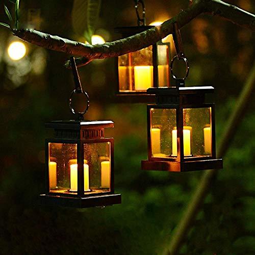 Vintage lantaarn op zonne-energie, met led-kaars, lantaarn, hanglantaarn, tafellamp voor buiten, balkon, tuindecoratie, erf, party, muur, tafel, boom, incl. clip, warmwit