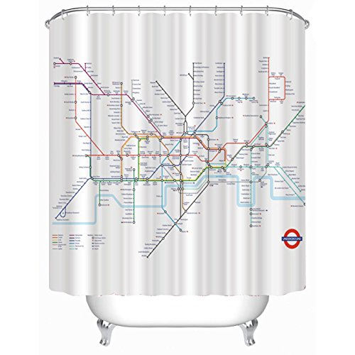 KKLL London Subway map Polyester Shower curtain...