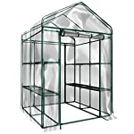 Home-complete hc-4202 walk-in greenhouse- indoor outdoor with 8 sturdy shelves-grow plants, seedlings, herbs, or flowers… 9 8 durable shelves- the 8 sturdy shelves provide plenty of room for trays, pots, or planters of anything you want to grow. It's a convenient option for any gardener! Indoor outdoor- this versatile greenhouse is ideal for both indoor and outdoor use; keep it on your backyard patio, deck, or in the basement or garage! The clear pvc cover helps protect seedlings from frost or pests for an ideal growing environment. Easy assembly- with no tools required, the greenhouse is easy to assemble! Simply follow the included instructions and connect the rods. Rope and anchors are included for stability, and each shelf comes with zip ties to ensure they can't be tipped over.