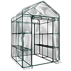 Home-Complete HC-4202 Walk-In Greenhouse- Indoor Outdoor with 8 Sturdy Shelves-Grow Plants, Seedlings, Herbs, or Flowers… 4 8 DURABLE SHELVES-The 8sturdy shelves provide plenty of room for trays, pots, or planters of anything you want to grow. It's a convenient option for any gardener! INDOOR OUTDOOR-This versatile greenhouse is ideal for both indoor and outdoor use; keep it on your backyard patio, deck, or in the basement or garage! The clear PVC cover helps protect seedlings from frost or pests for an ideal growing environment. EASY ASSEMBLY-With no tools required, the greenhouse is easy to assemble! Simply follow the included instructions and connect the rods. Rope and anchors are included for stability, and each shelf comes with zip ties to ensure they can't be tipped over.