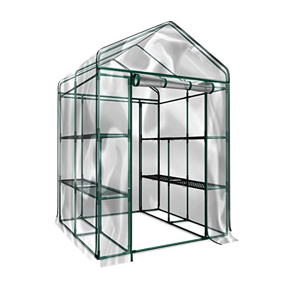 Home-complete hc-4202 walk-in greenhouse- indoor outdoor with 8 sturdy shelves-grow plants, seedlings, herbs, or flowers… 1 8 durable shelves- the 8 sturdy shelves provide plenty of room for trays, pots, or planters of anything you want to grow. It's a convenient option for any gardener! Indoor outdoor- this versatile greenhouse is ideal for both indoor and outdoor use; keep it on your backyard patio, deck, or in the basement or garage! The clear pvc cover helps protect seedlings from frost or pests for an ideal growing environment. Easy assembly- with no tools required, the greenhouse is easy to assemble! Simply follow the included instructions and connect the rods. Rope and anchors are included for stability, and each shelf comes with zip ties to ensure they can't be tipped over.