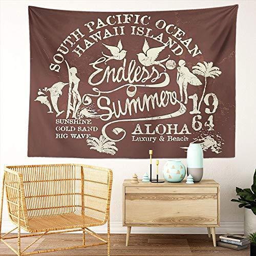 Y·JIANG Tapiz hippie, para verano, estilo retro, tabla de surf hawaiano, para coche, hibisco, vintage, para dormitorio, decoración de pared, 203 x 152 cm