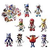 Pegatina Figura de dibujos animados Sonic 9 unids/lote 3,8 pulgadas juguete sónico figuras sónicas juguete Sonic The Hedgehog muñeca Sonic Shadow Tails Amy Rose para niños animales juguetes regalo