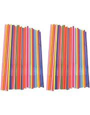 BESTonZON 450 Stuks Flexibele Rietjes Extra Lange Kleurrijke Wegwerp Plastic Buigbare Drinkrietjes Voor Kinderen en Volwassenen