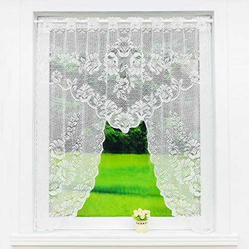 Scheibengardine C-Bogen Store Spitze-Jacquard Deko Gardine Stangendurchzug Fenster Vorhang Weiß Fertiggardine HxB 105x120cm Prunkwinde Muster