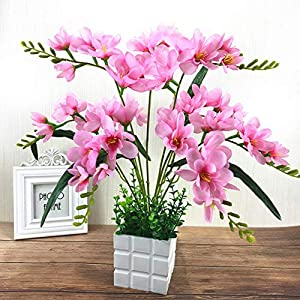 Adoolla Artificial Freesia Flower with 9 Branches for Home Living Room Decor Pink