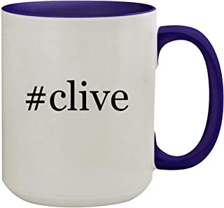 #clive - 15oz Hashtag Ceramic Inner & Handle Colored Coffee Mug, Deep Purple