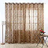 Neecan Leaves Pattern Warp Knitting Fabric Mesh Curtains 108 Inch Rod Pocket Top Hollow Out Breathable Window Drapes for Living Room,Bedroom,Grommet Top,1 Pack. Coffee 52Wx108L