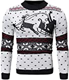 Men Christmas Hoodie Sweater Casual Design Solid Color Printing Sweater springAutumn Pullover Hoodies,White,L
