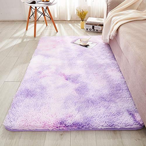 WERDIM Shaggy Plush Faux Fur Area Rugs Fluffy Indoor Carpets for Bedroom Living Room Home Decor Non Slip Dots Bottom Tie Dyed Lilac, 2x3 Feet