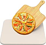 EONSIX Pizza Stone for Oven and Grill, 15'x 12' Baking Stone with Wooden Pizza Peel Paddle for Crispy Crust Pizza Durable and Safe Pizza Stone for Grill, Thermal Shock Resistant Cooking Stone