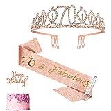 Fajín y tiara de oro rosa para el 70 cumpleaños para mujer, regalos de 70 cumpleaños pa...