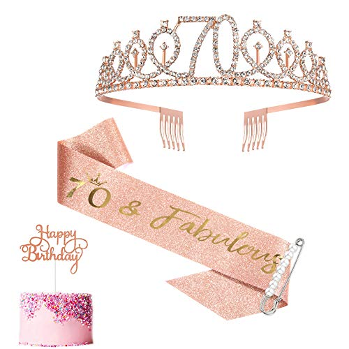 70th Birthday Sash and Tiara for Women, Rose Gold Birthday Sash Crown 70 & Fabulous Sash and Tiara for Women, 70th Birthday Gifts for Happy 70th Birthday Party Favor Supplies