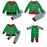 Ensemble Pyjama Noel Famille Père Pyjama Noël Mère Garçon Fille Bébé Vêtement de Nuit Combinaison 2 Pieces Top et Pantalon Plaid Pyjamas(Vert/Bébé,0-6 Mois)