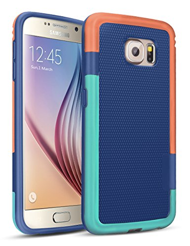 Galaxy S6 Case, TILL(TM) 3 Color Hybrid Dual Layer Shockproof Case [Extra Front Raised Lip] Soft TPU & Hard PC Bumper Protective Case Cover for Samsung Galaxy S6 S VI G9200 GS6 [Blue]