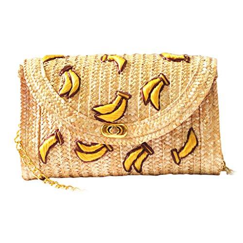 MEIBAOGE Banana Straw Messenger Shoulder Crossbody Clutch Flap Chain Bag Playa, Almacenamiento-Banana/Cherry