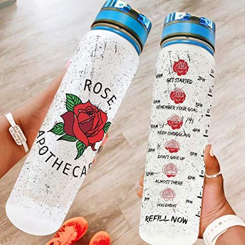 Ftcbrgifk Botella de agua deportiva de 1000 ml, con diseño de flores de rosa, a prueba de fugas, simple botella de agua potable para ciclismo con marcador de tiempo motivacional, color blanco, 1000 ml