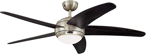 Westinghouse Lighting 72557 Bendan One-Light 132 cm Five-Blade Indoor Ceiling Fan, Satin Chrome Finish with Opal Frosted G...