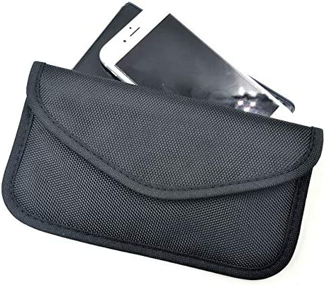 Grand River Signal Blocking Bag, RFID Faraday Bag Shield Cage Pouch Wallet Phone case for Cell Phone, car Key FOB Anti-Tracking Anti Spying. (Black) Bonus RFID Secure Sleeve