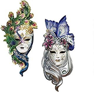 Design Toscano Peacock Feathers and Butterfly Wings Masks of Venice Wall Sculptures Polyresin, Set of 2, 13