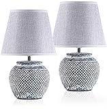 BRUBAKER Set de 2 Lámparas de Mesa o de Noche - 30,5 cm - Gris - Pies de Lámpara de Cerámica - Pantallas de Lino Gris Claro