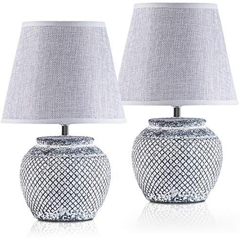 2er Set BRUBAKER Tisch- oder Nachttischlampen - 30,5 cm - Grau - Keramik Lampenfüße - Leinen Schirme Hellgrau