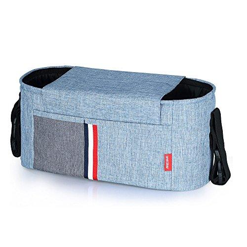Baby Buggy Organizer, Kinderwagen Organizer, Universale Kinderwagentasche Stroller Organizer mit Reißverschlusstasche Stroller Bag mit Verstellbaren Bändern, Buggy Tasche-Blau