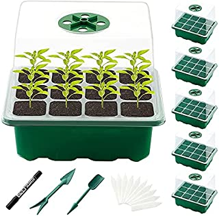 5 Packs of 60-Cell Seed Starter Tray kit,Plant Germination Starter Kit Growing Trays with Humidity Dome and Base for Green...