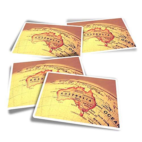 Pegatinas rectangulares de vinilo (juego de 4) – Vintage Australia Mapa Global, calcomanías divertidas para portátiles, tabletas, equipaje, reserva de chatarra, frigoríficos #2609