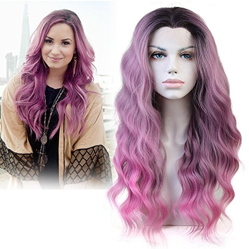 Cbwigs Ombre Sweet Pink Long Wavy Synthetic Lace Front Wig for Women Half Handmade Baby Pink Dark Roots Natural Wavy Fiber Hair Wig Heat Resistant 18 inch