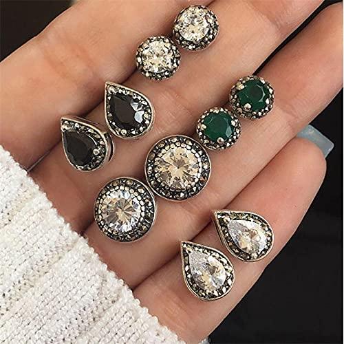 FEARRIN Pendientes Vintage para Mujer, 6 Pendientes Redondos de Resina con diseño geométrico, Pendientes para Mujer, Pendientes de declaración Hechos a Mano Brinco, joyería E557