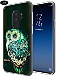 S9 Case Owl,Gifun [Anti-Slide] and [Drop Protection] Soft TPU Protective Case Cover for Samsung Galaxy S9 (2018) - Vintage Green Owl Case
