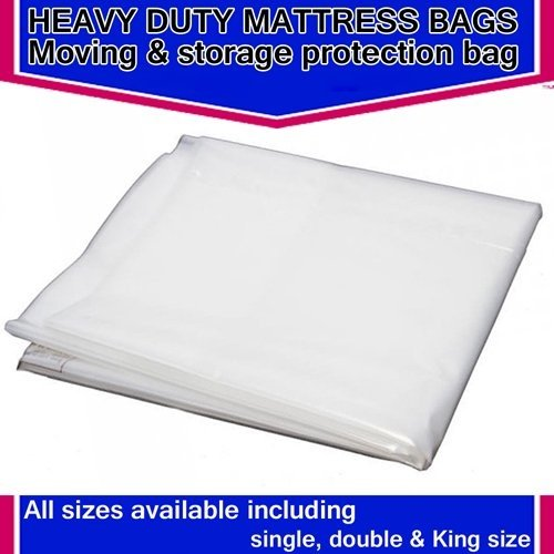 SKM HEAVY DUTY REMOVAL MOVING MATTRESS POLYTHENE COVER BAG *400 GAUGE* (Double 4ft 6' Mattress Bag)