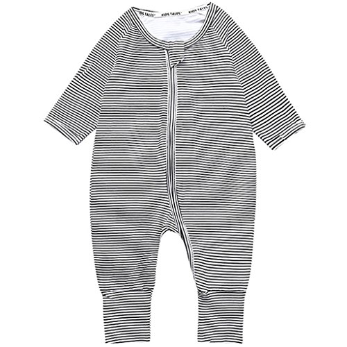 Vine Baby Overalls Schlafanzug Säugling Baumwolle Stramper Spielanzug Langarm Body Reißverschluss, 3-6 Monate