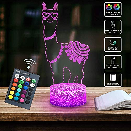 Alpaca Llama 3D Optical Illusion Lamp,7 Colors Change with Remote & Touch Control Kid Night Light Home Office Bedroom Decor As Birthday Christmas Gift Ideas for Boys or Girls by Shellvcase