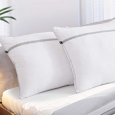 BedStory [Nouvelle Version] Oreillers Lot de 2 60x60, Oreiller Medium 60x60 avec Garnissage 3D Fibre Polyester, Gonflants et Garde la Forme, Oreiller Anti-Transpiration pour Hotêl Lit Canapé