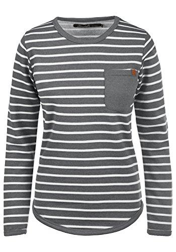 BlendShe Christin Damen Sweatshirt Pullover Sweater Mit Rundhalsausschnitt Und Fleece-Innenseite, Größe:S, Farbe:Pewter Mix (70817)
