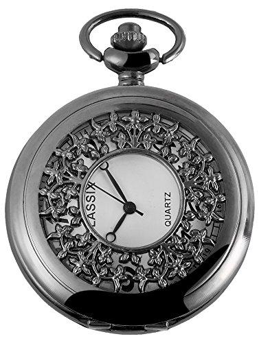 Trend-Wares Pocket Horloge Wit Titanium Kijk Raam Bloemen Analoog Quartz Metalen Heren Fob Horloge