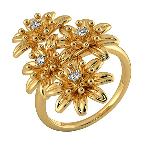 FiedFict Women's Ring Four Chrysanthemum Rings Banquet Ring Wedding Engagement Flower Ring Girl Jewerly Gift, Gold, 10