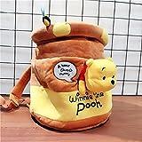 MLOPFTA Winnie The Pooh Kawaii Pooh Bear Honeypot Stuffed Plush Backpack Cute Anime Pooh Plush Bucket Bag Gifts for Kids Girls